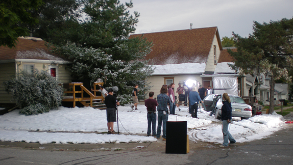 movie crew at work  on a fake snow scene