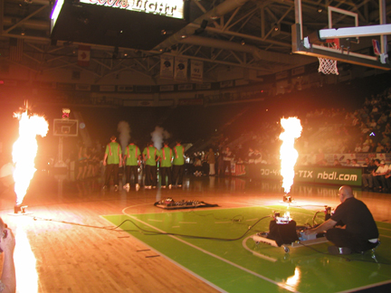 firefly Propane Flame cannons at a NBA game