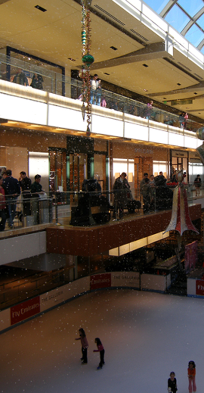 snow at a simon mall
