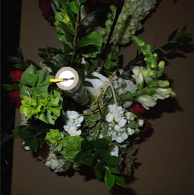 The Pyro Device in the Center Piece Floral Arrangement