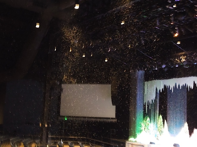 evaporative snow  machines in a disney theater