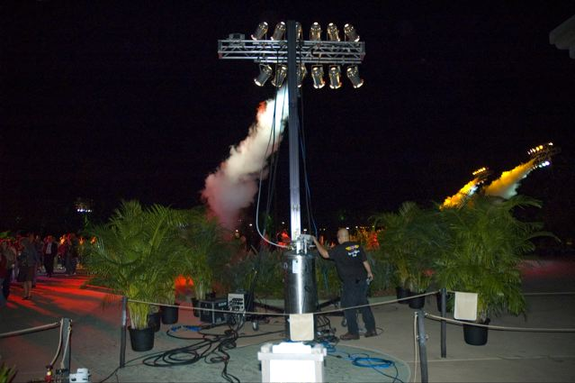 co2 jets on a lighting rig at disney