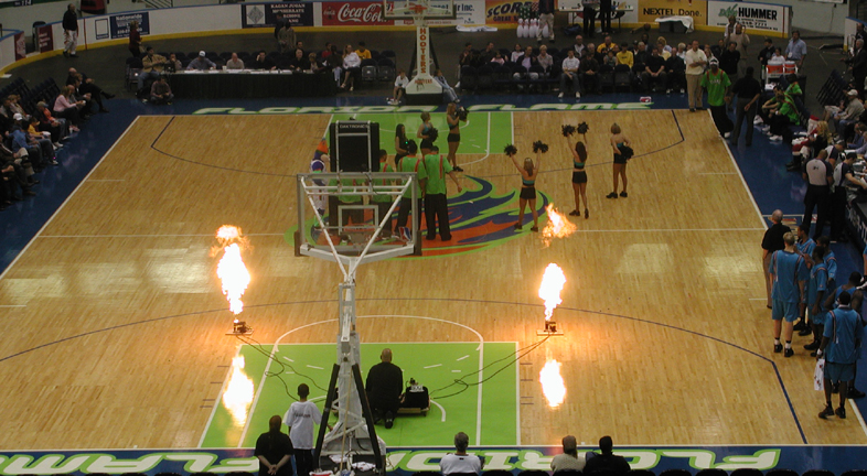 NBA team intro with firefly propane system