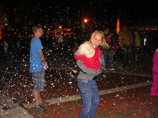 Fake snow fall at a city event provided by effect specialist.com
