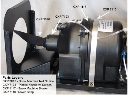 The Silent Storm uses small Jacuzzi blower above which is not a designed snow machine Nozzle, like seen below in the photo on a snowmaters Machine. The air to fluid ratio is not correct.