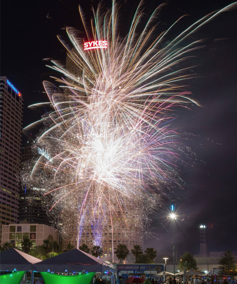 city fireworks in a tampa park