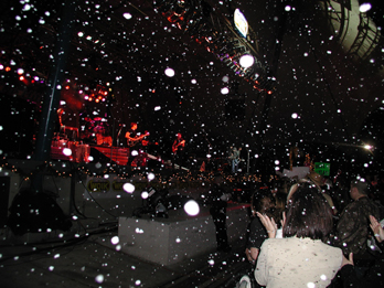 Snow at a rock concert