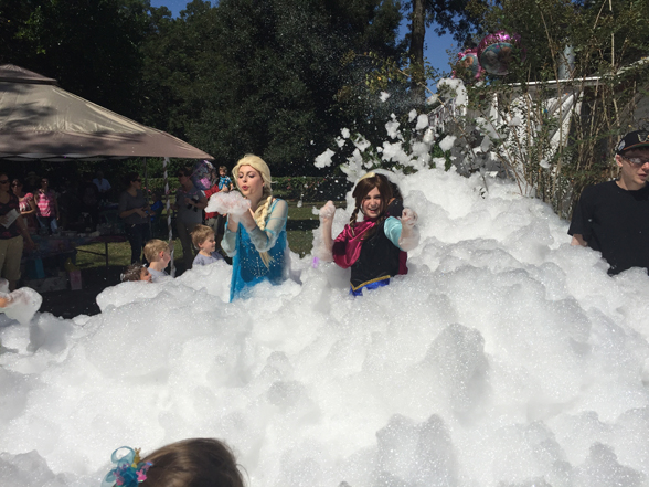 A frozen Party with a Foam Machine